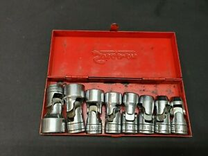 Snap on Tools 8 Piece 3 8 Drive Sae Swivel Socket Set In Original Metal Case