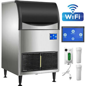 Commercial Ice Maker 265lbs 24h With 121lbs Large Storage Capacity Wifi System
