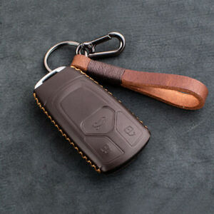 Real Leather Smart Key Cover Fob Shell Holder For Audi 2017 2019 A4 A5 Q5 Q7 Tt
