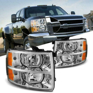 Fit For 2007 2014 Chevy Silverado Headlights Chrome Amber 1500 2500 3500 Lamps