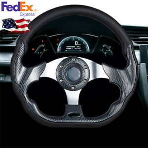 320mm Black Deep Dish Spoke Leather Carbon Fiber Syle Car Racing Steering Wheel