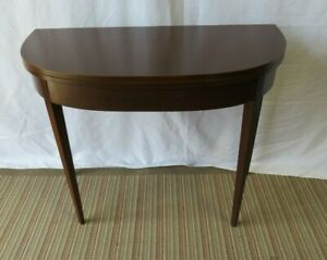 Refinished Unbranded Mahogany Flip Top Folding Console Game Table