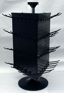 3 Sided Black Plastic Counter Top Peg Board Spinner Rack Display Hooks Included