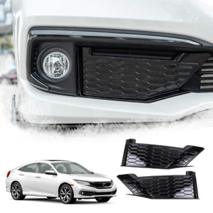 New For Honda Civic 2019 2020 Piano Black Style Front Fog Lights Panel Trim