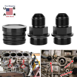 Rear Block Breather Fittings Plug For Honda B16 B18c Catch Can M28 To 10an Black