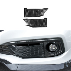 New For Honda Civic 2019 2020 Carbon Fiber Style Front Fog Lights Panel Trim