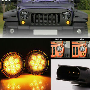 2x Front Amber Led Turn Signal Light For Jeep Wrangler Jk 2007 2018 smoke Lens