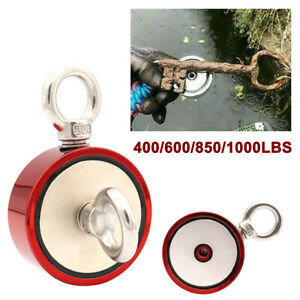 Red Fishing Magnet Dual Sided Dual Ring Pull Force Super Strong Neodymium Heavy