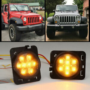 Pair Front Fender Led Side Marker Light Smoke Lens For 2007 18 Jeep Wrangler Jk