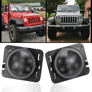 Pair Front Fender Led Side Marker Lights Smoke Lens For 2007 18 Jeep Wrangler Jk