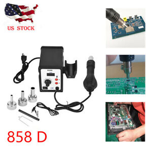 858d Soldering Rework Station Iron Desoldering Hot Air Gun Tool W 3 Nozzles