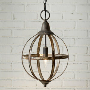 Rustic New Sphere Pendant Hang Light In Distressed Tin