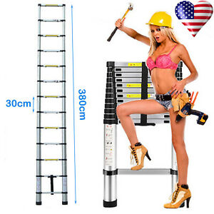 13 Steps 3 8m Aluminum Folding Portable Adjustable Telescopic Ladder En131 New