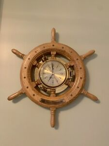 Vintage Brass And Wood Clock Ship S Time Walnut Wheel 19