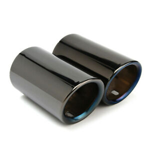 Hot Stainless Steel Titanium Black 68mm 58mm Car Tail Exhaust Tip Pipes Us Stock