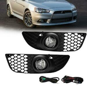 For 07 15 Mitsubishi Lancer Fog Lights Driving Lamp Kit W Switch Wiring Clear