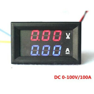 Digital Voltmeter Ammeter Dc 100v 50a Blue Red Led Volt Amp Power Meter Test
