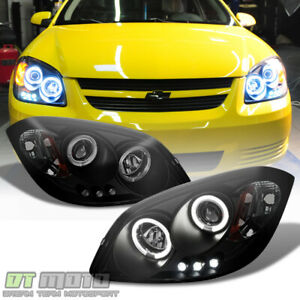 Blk Smoked 2005 2010 Cobalt Pontiac G5 Led Halo Projector Headlights Left right