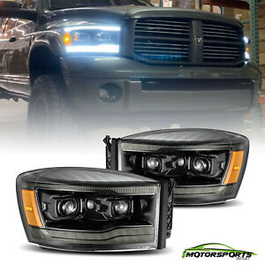 Fit 2006 2008 Dodge Ram Led Drl signal Polished Black Projector Headlights Pair