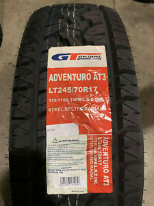 4 New Lt 245 70 17 Lre 10 Ply Gt Radial Adventuro At3 White Letter Tires