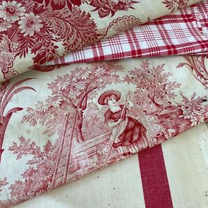 Antique Vintage French Fabric Scraps Pack Red Stripe Canvas Plaid Floral Toile