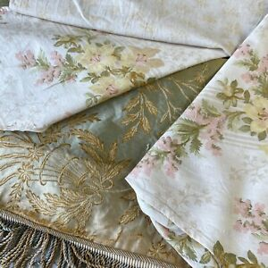 Antique Vintage French Fabric Scraps Pack Silk Damask Small Scale Floral Remnant