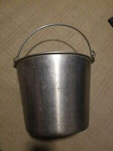 Vintatge Heavy Duty Stainless Steel Pail Bucket Milking maple Syrup dog Kennel