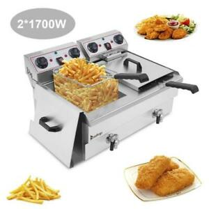 Electric Deep Fryer Dual Tank Stainless Steel Faucet 2 Fry Basket Commercial 26