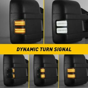 2 led Switchback White amber Flowing Side Mirror Lights For 08 16 Ford F250 F350