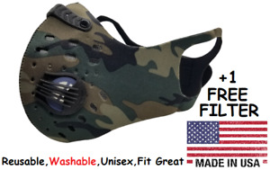 Reusable Cycling Face Mask With Filter Breathing Valves Washable Unisex Usa Camo