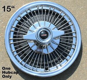one Vintage Oldsmobile 15 Inch Wire Spoke Two Bar Spinner Hubcap Oem Rare