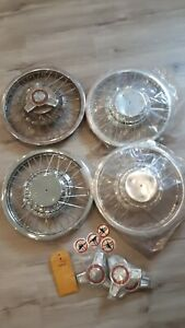 1964 1965 14 Ford Mustang Spoke Wire Spinner Hubcaps New