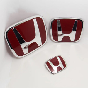 3x Jdm Honda Red H Emblem Front And Rear For 06 15 Civic Sedan Si Dx Ex