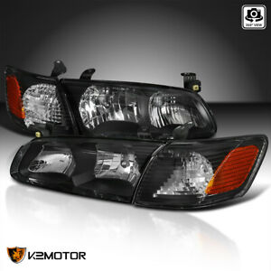 For 2000 2001 Toyota Camry Black Headlights corner Signal Lamps Pair 00 01