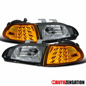 For 1992 1995 Honda Civic 2 3dr Black Headlights Amber Led Corner Signal Lamps