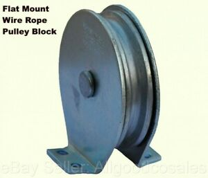 Flat Mount Wire Rope Pulley Block Zinc Steel Plated 525 Lb Load Cap
