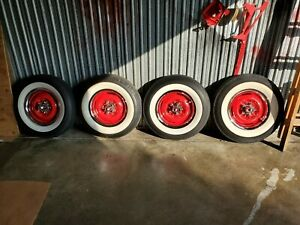Wide White Wall Wheels And Tires Mint Hot Rat Rod 6 70 15 4 Ply Bias Tubeless