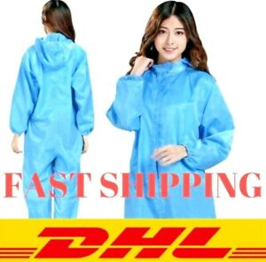 10pcs Hazmat Suit Protection Clothing Safety Coverall Clean Room Washable Dhl