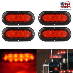 12v 10led 6 white Reverse Backup Stop Tail Light Rv Car Truck Oval Surface Mount