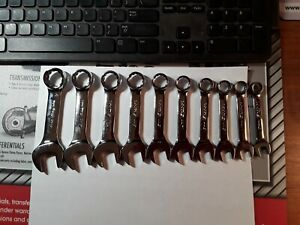 Snap On Tools Usa Short Miget Stubby Metric Wrench Set 10 19mm Flank Drive 12pt