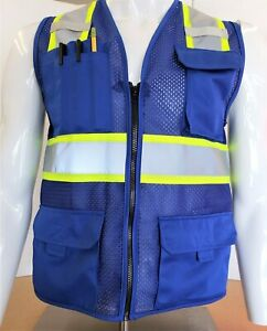 Two Tone High Visibility Reflective Blue Safety Vest x small 5xl