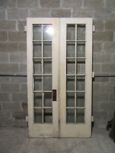 Antique 12 Lite Double Entrance French Doors 48 X 89 25 Salvage