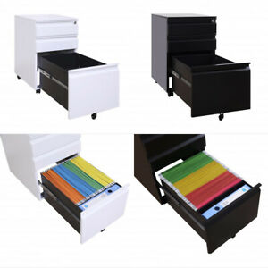 3 Drawer Metal File Cabinet With Lock Mobile Filing Lateral Cabinet Black white