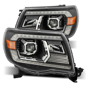 For 2005 2011 Toyota Tacoma Black Projector Headlights Lamps Lh Rh Replacement