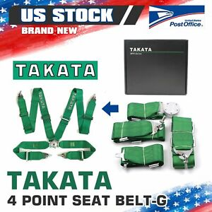 Takata 4 Point Snap on 3 With Camlock Racing Seat Belt Harness Green Universal