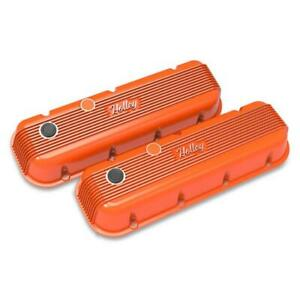 Holley 241 304 Bbc Finned Valve Covers Factory Orange Finish