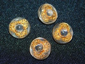 4 Antique Vintage Clear Glass Buttons W Gold Detail Shank 1 2 Dia