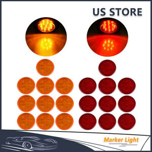 10pcs Red 10pcs Amber 2 5 Round 13 Led Trailer Clearance Side Marker Lights