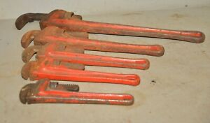 5 Pc Ridgid Pipe Wrench 10 12 14 18 24 Plumbing Steam Fitting Tool Lot