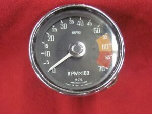 Smith 4 Cyl 7000 Rpm Tachometer Tach Mg Clean Face Bezel
